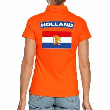 Holland supporter polo t shirt oranje kingsday dames
