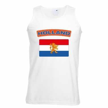 Holland vlag mouwloos shirt wit heren