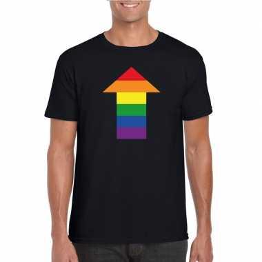 Homo shirt top regenboog pijl zwart heren