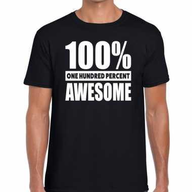 Honderd procent awesome t shirt zwart heren