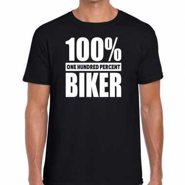 Honderd procent biker/ motorrijder t shirt zwart heren