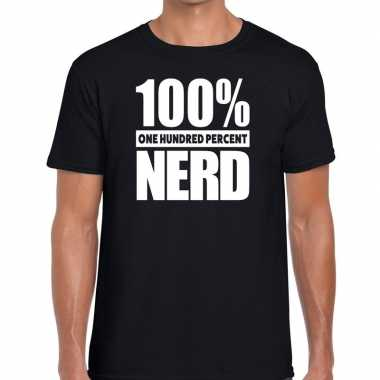 Honderd procent nerd t shirt zwart heren