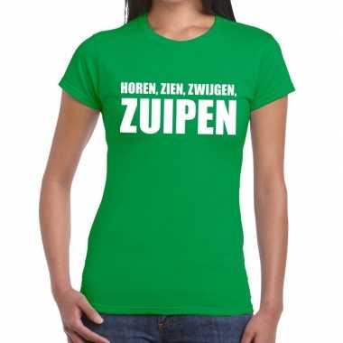 Horen zien zwijgen zuipen fun t shirt groen dames