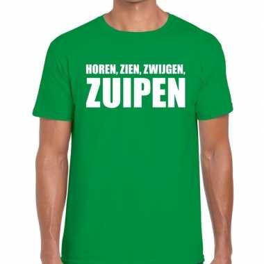 Horen zien zwijgen zuipen fun t shirt groen heren