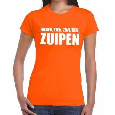 Horen zien zwijgen zuipen fun t shirt oranje dames
