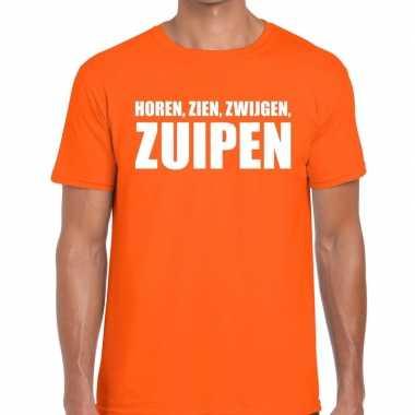 Horen zien zwijgen zuipen fun t shirt oranje heren