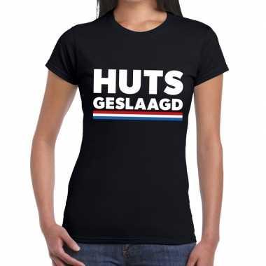 Huts geslaagd fun t shirt zwart dames