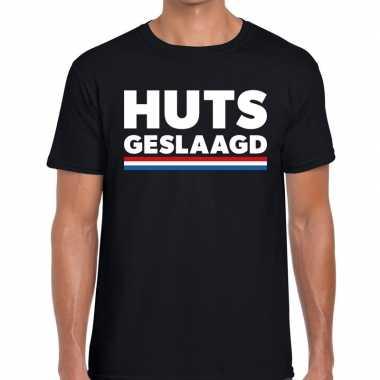 Huts geslaagd vlagfun tekst t shirt zwart heren