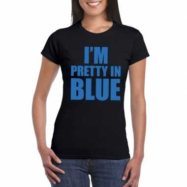 I am pretty blue fun t shirt dames zwart