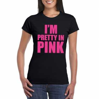 I am pretty pink fun t shirt dames zwart