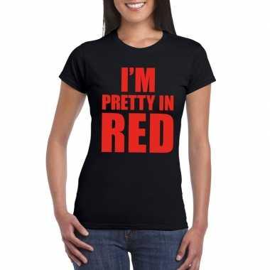 I am pretty red fun t shirt dames zwart