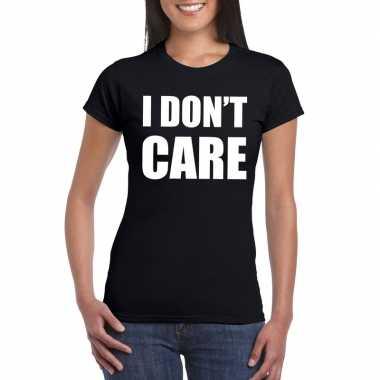 I dont care fun t shirt zwart dames