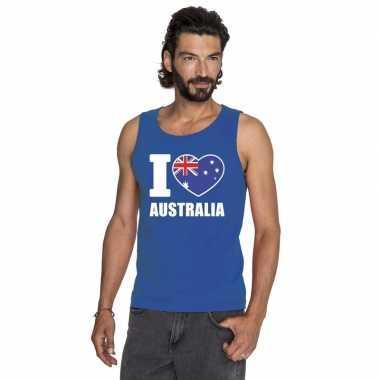 I love australie supporter mouwloos shirt blauw heren