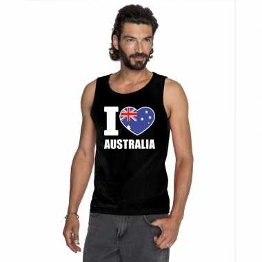 I love australie supporter mouwloos shirt zwart heren