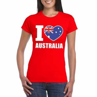 I love australie supporter shirt rood dames