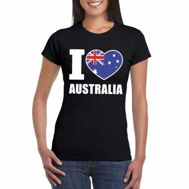 I love australie supporter shirt zwart dames