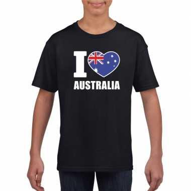 I love australie supporter shirt zwart jongens meisjes