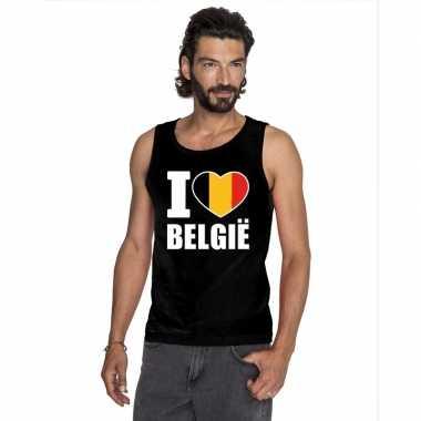 I love belgie supporter mouwloos shirt zwart heren