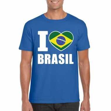 I love brazilie supporter shirt blauw heren
