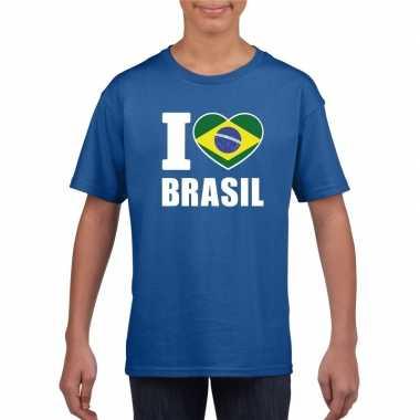 I love brazilie supporter shirt blauw jongens meisjes