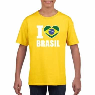 I love brazilie supporter shirt geel jongens meisjes