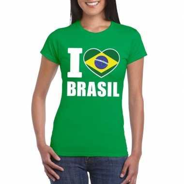 I love brazilie supporter shirt groen dames