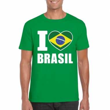 I love brazilie supporter shirt groen heren