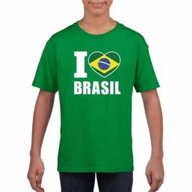 I love brazilie supporter shirt groen jongens meisjes