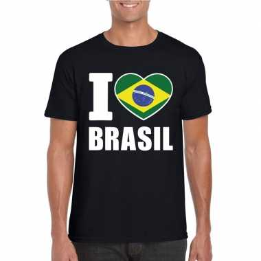 I love brazilie supporter shirt zwart heren