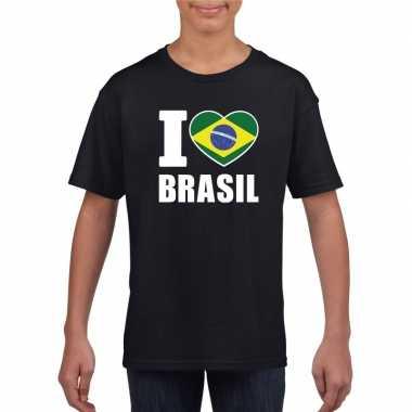 I love brazilie supporter shirt zwart jongens meisjes