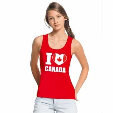 I love canada supporter mouwloos shirt rood dames