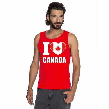 I love canada supporter mouwloos shirt rood heren