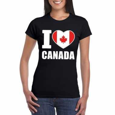 I love canada supporter shirt zwart dames
