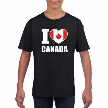 I love canada supporter shirt zwart jongens meisjes