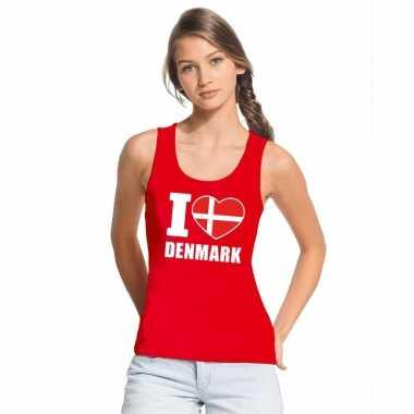 I love denemarken supporter mouwloos shirt rood dames