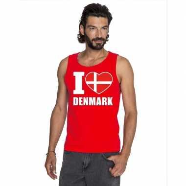 I love denemarken supporter mouwloos shirt rood heren