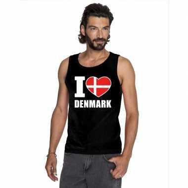 I love denemarken supporter mouwloos shirt zwart heren
