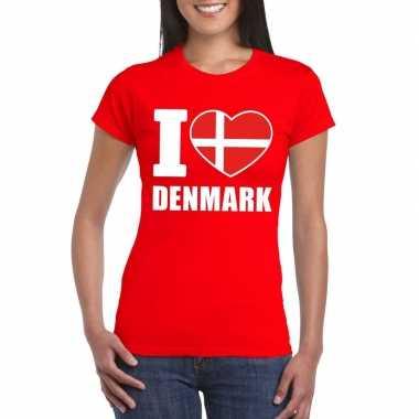 I love denemarken supporter shirt rood dames