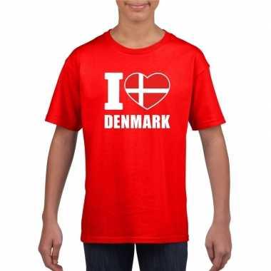 I love denemarken supporter shirt rood jongens meisjes