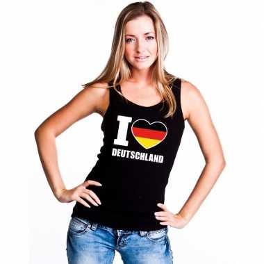I love duitsland supporter mouwloos shirt zwart dames