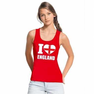 I love engeland supporter mouwloos shirt rood dames