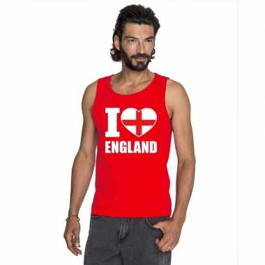 I love engeland supporter mouwloos shirt rood heren