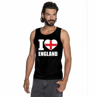 I love engeland supporter mouwloos shirt zwart heren