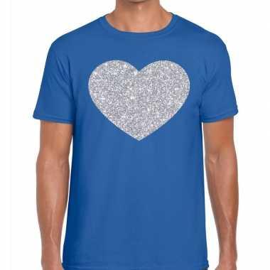I love fun t shirt blauw zilveren bedrukking heren