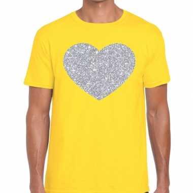 I love fun t shirt geel zilveren bedrukking heren