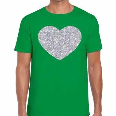 I love fun t shirt groen zilveren bedrukking heren