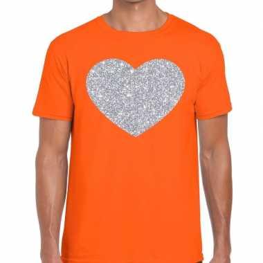 I love fun t shirt oranje zilveren bedrukking heren