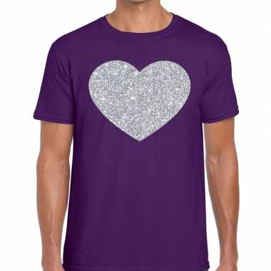 I love fun t shirt paars zilveren bedrukking heren