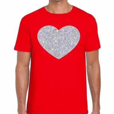 I love fun t shirt rood zilveren bedrukking heren