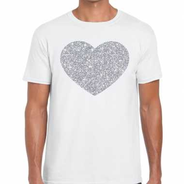 I love fun t shirt wit zilveren bedrukking heren